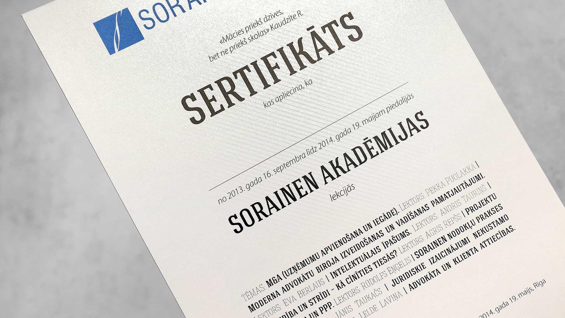 Diplomu un goda rakstu izgatavošana Sorainen