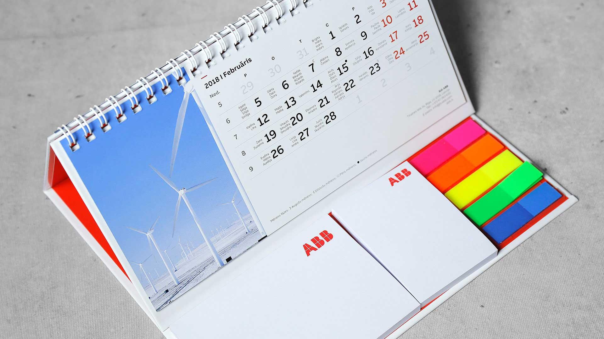 Galda kalendāru druka ABB