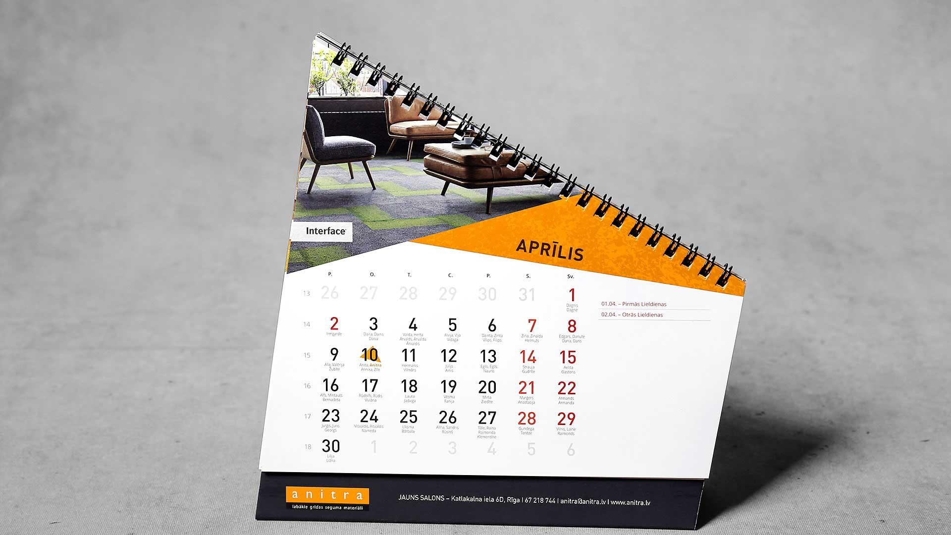 Galda kalendāru druka Anitra