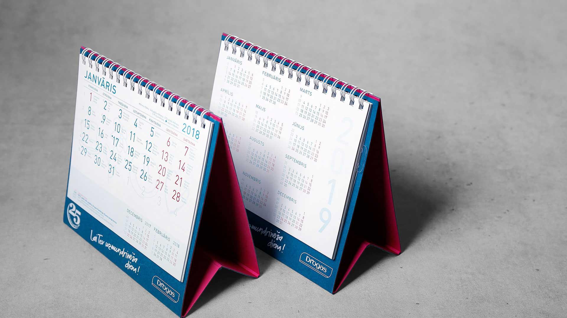 Galda kalendāru druka Drogas
