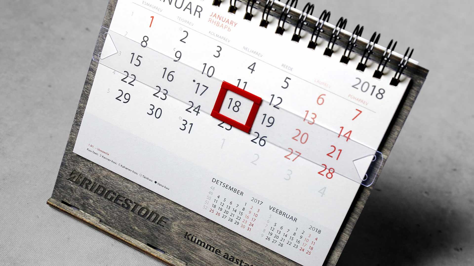 Koka kalendāru izgatavošana Bridgestone