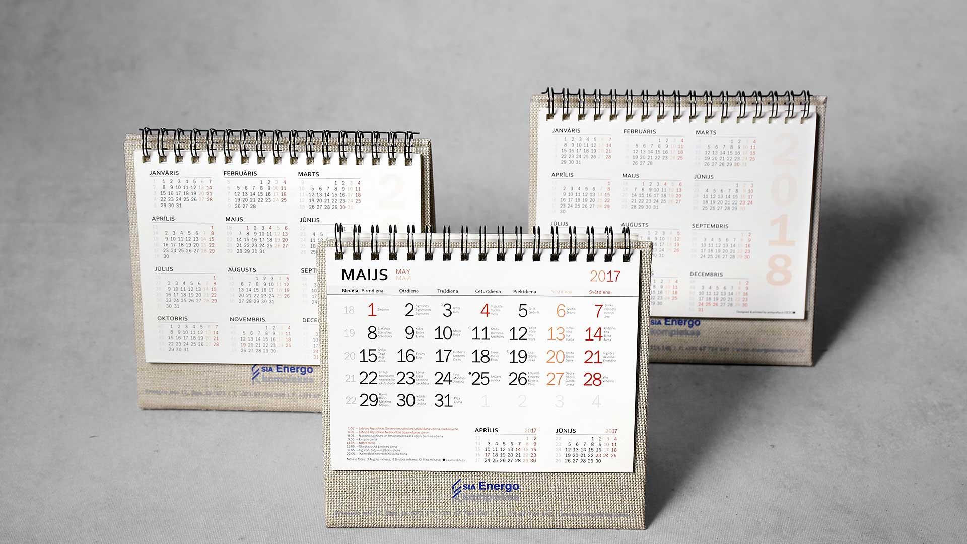 Galda kalendāru izgatavošana Energo