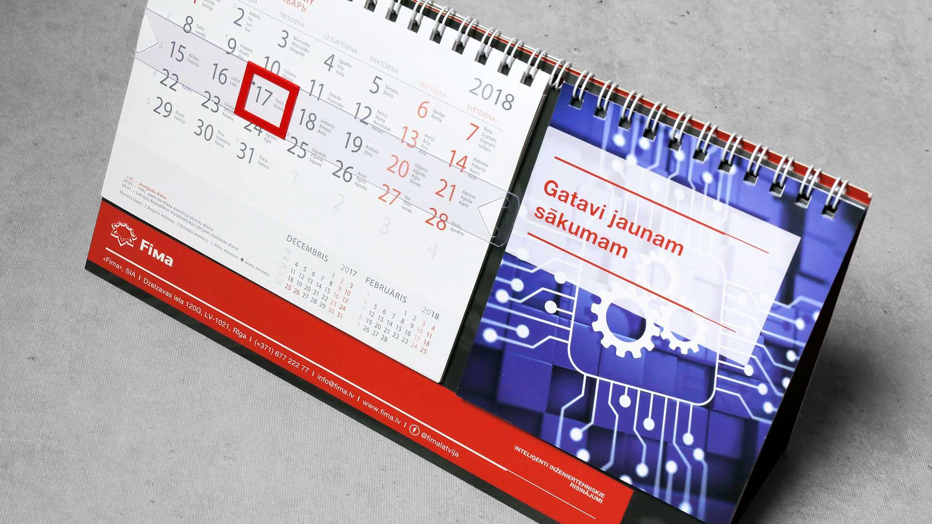 Galda kalendāru izgatavošana Fima