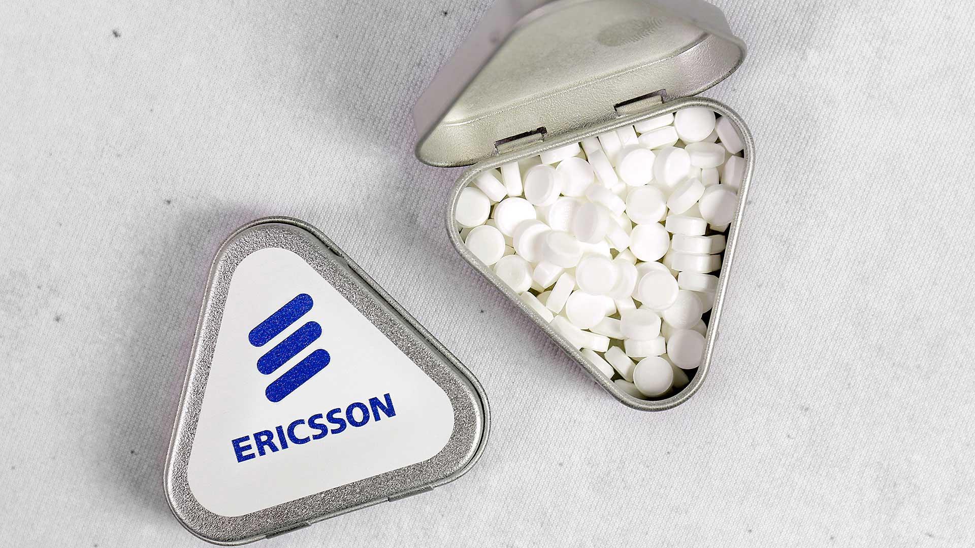 Personalizētas konfektes ar reklāmu, logo Ericsson