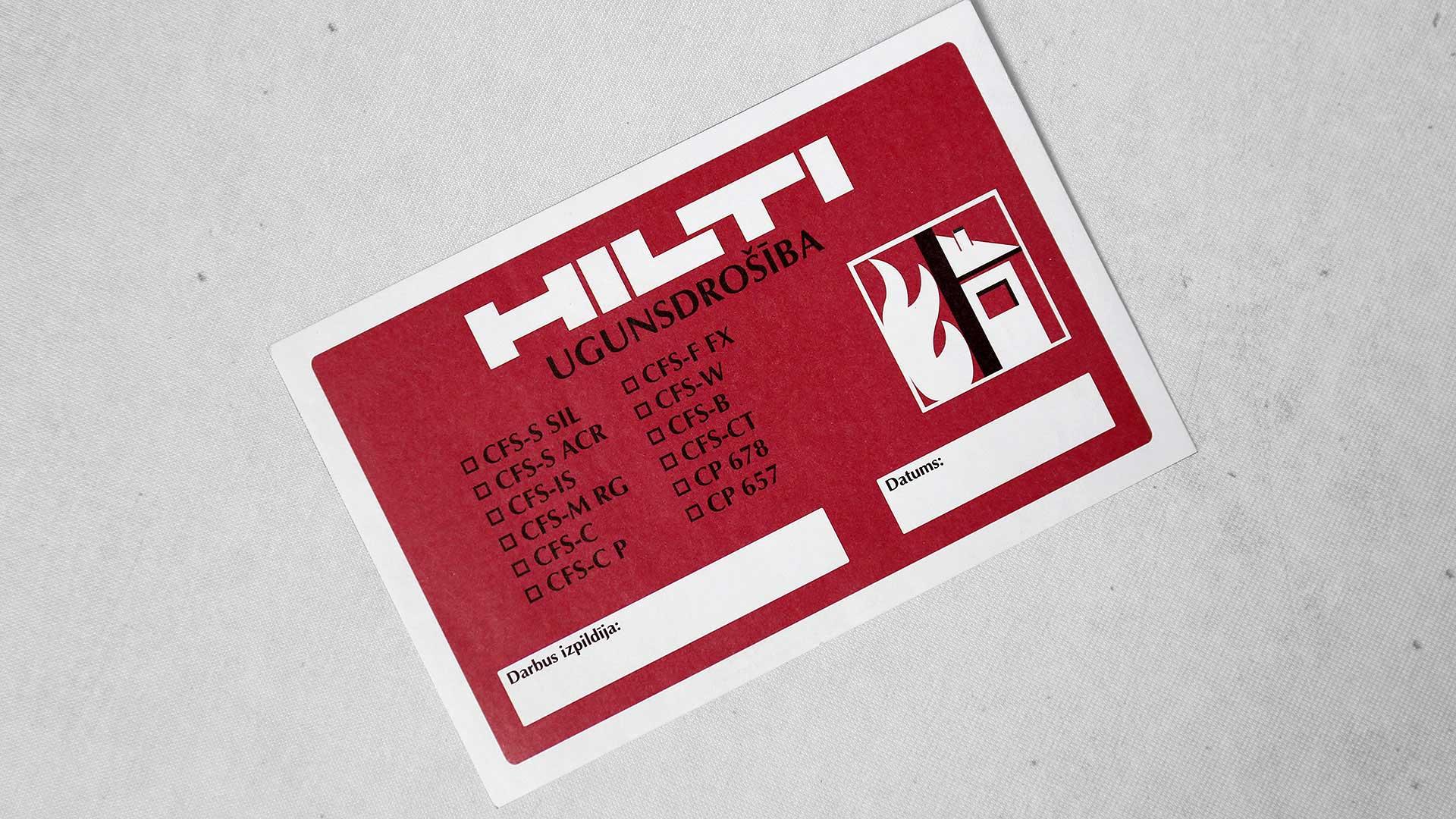 Plēves uzlīmju druka, izgatavošana Hilti