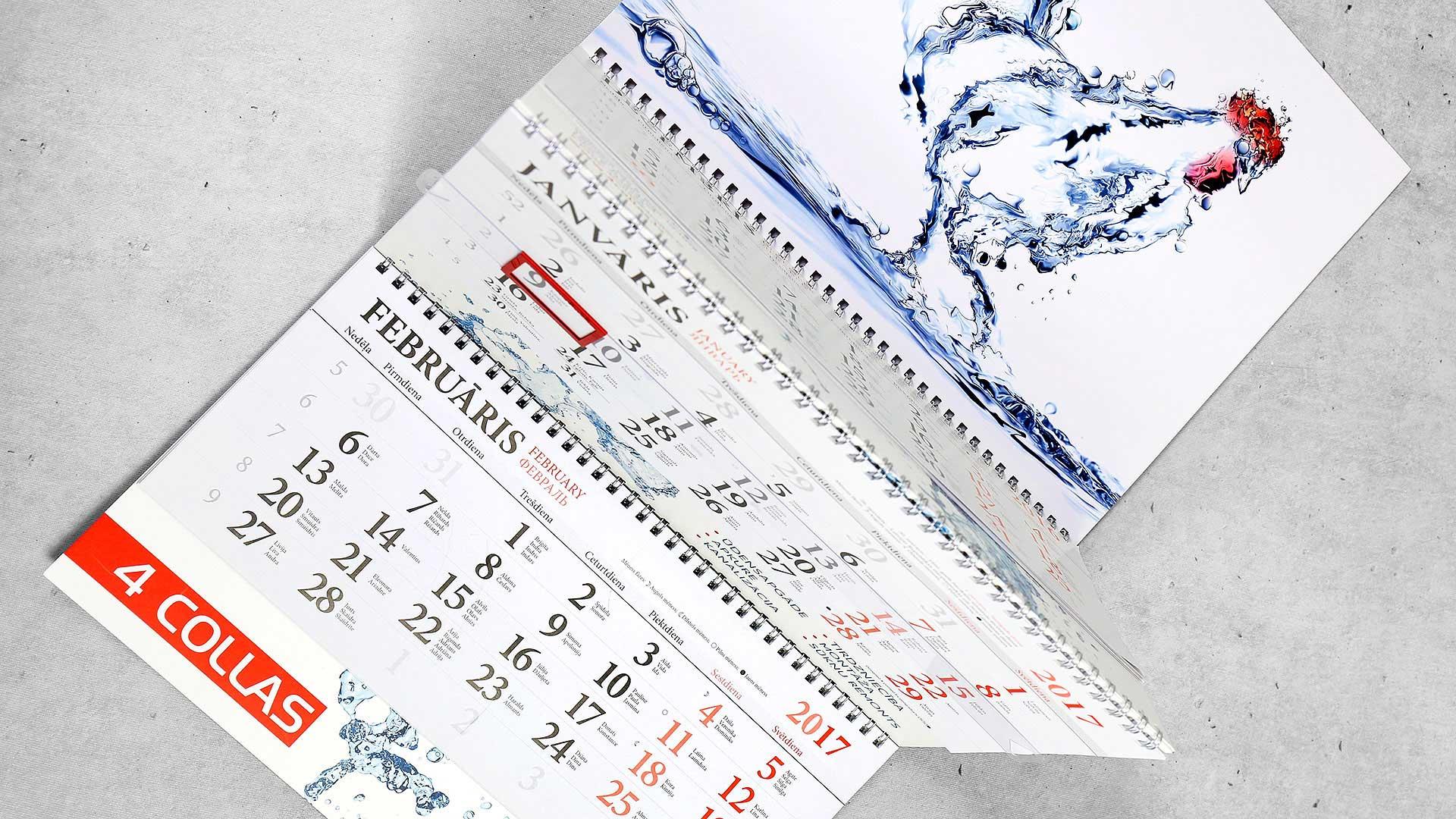 Sienas kalendāru druka 4 collas