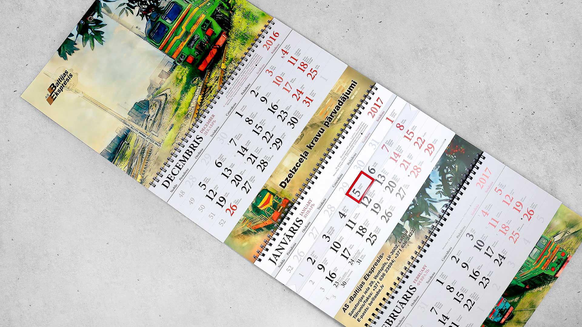 Sienas kalendāru druka Baltijas Ekspresis
