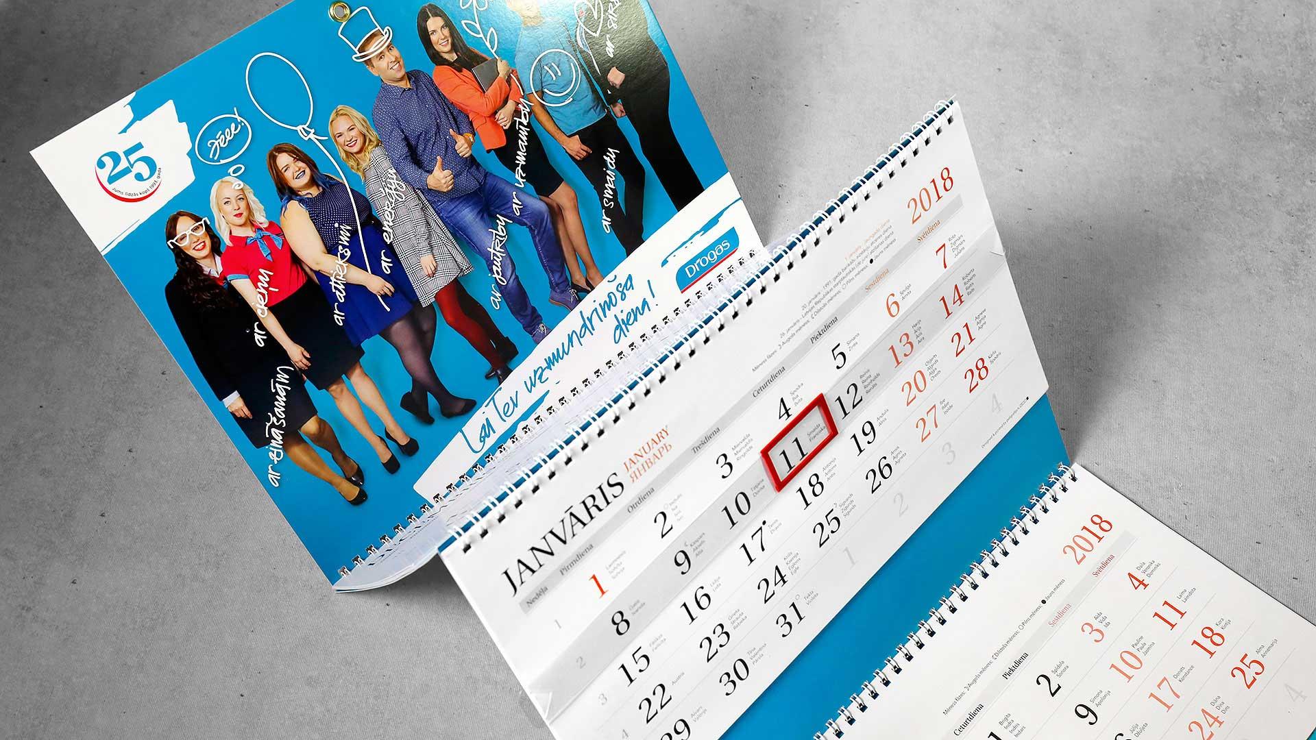 Sienas kalendāru druka Drogas