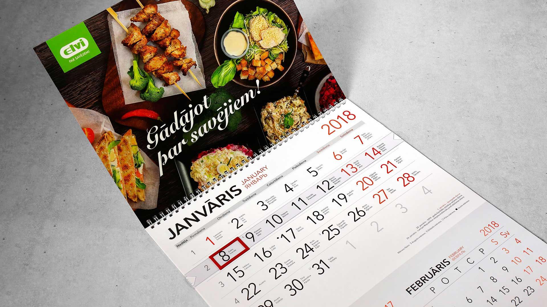Sienas kalendāru druka Elvi
