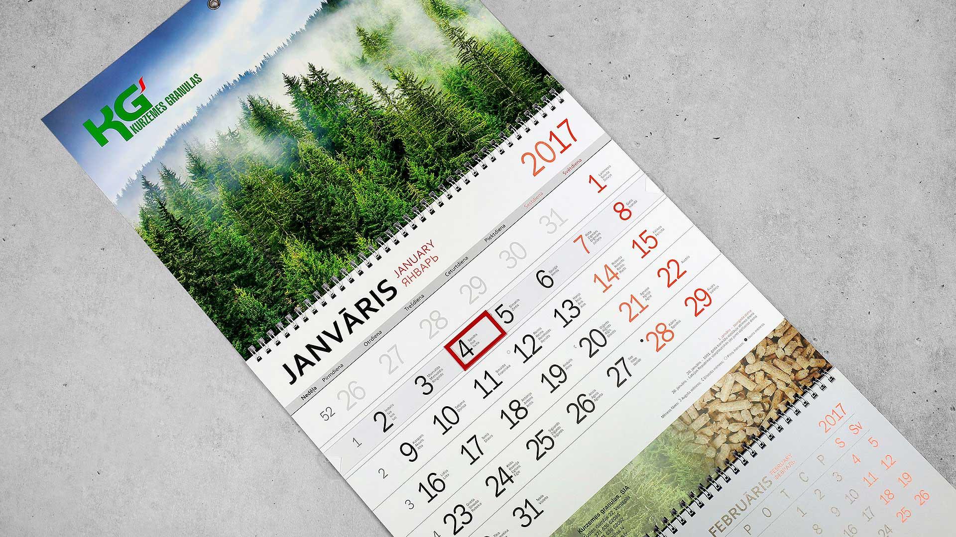 Sienas kalendāru druka Kurzemes Granulas