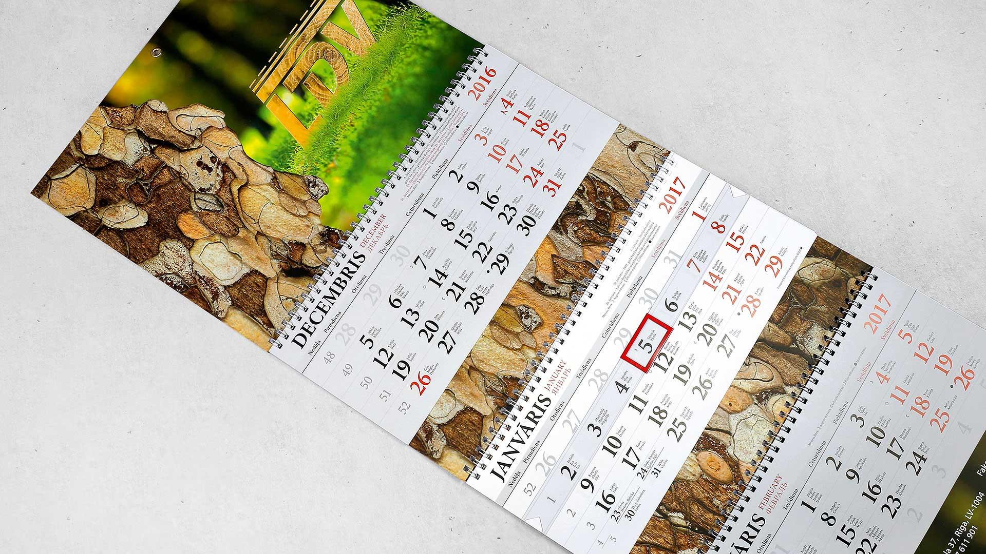 Sienas kalendāru druka LDV
