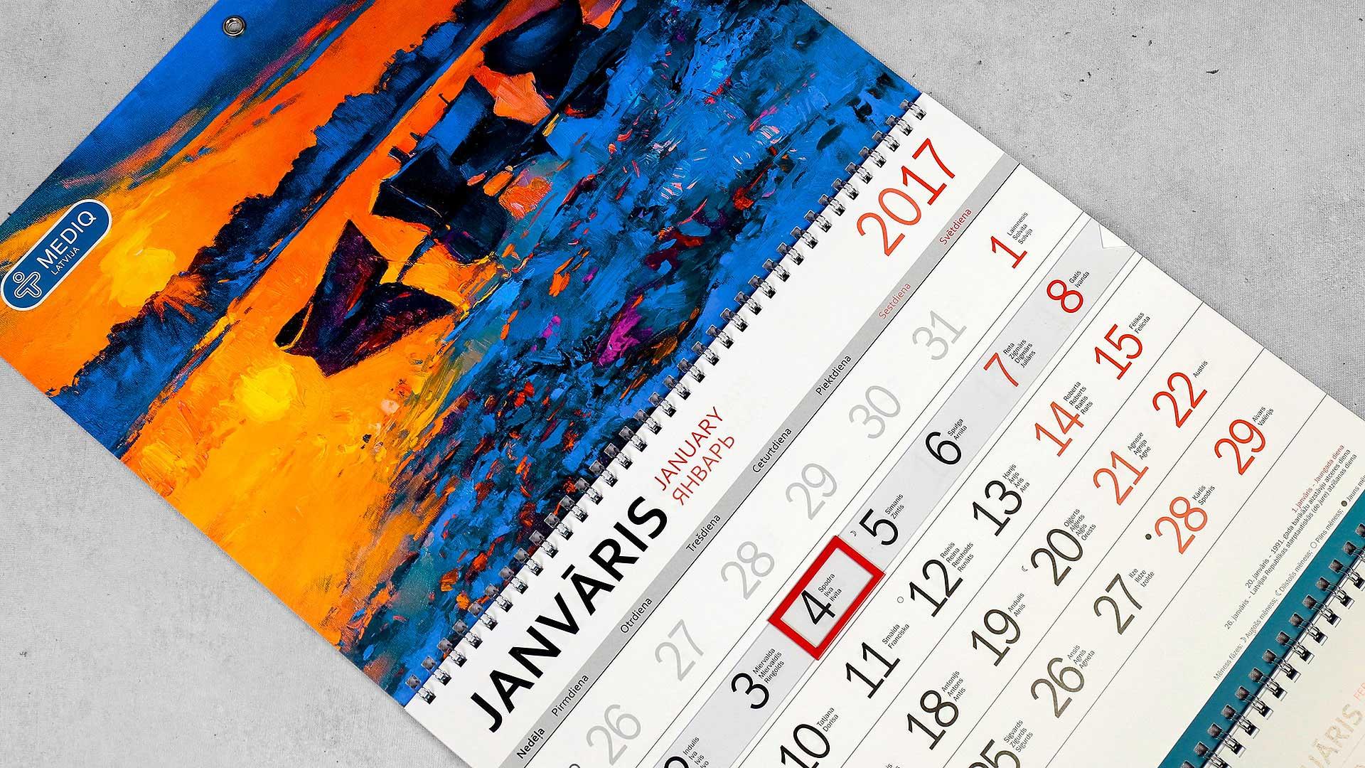 Sienas kalendāru druka Mediq