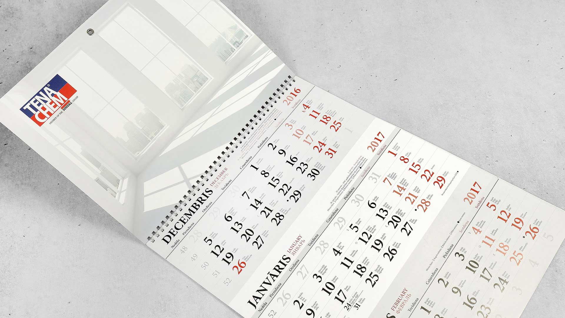 Sienas kalendāru druka Tena Chem