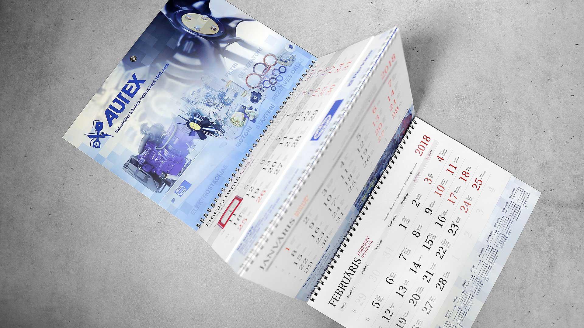 Sienas kalendāru izgatavošana Autex