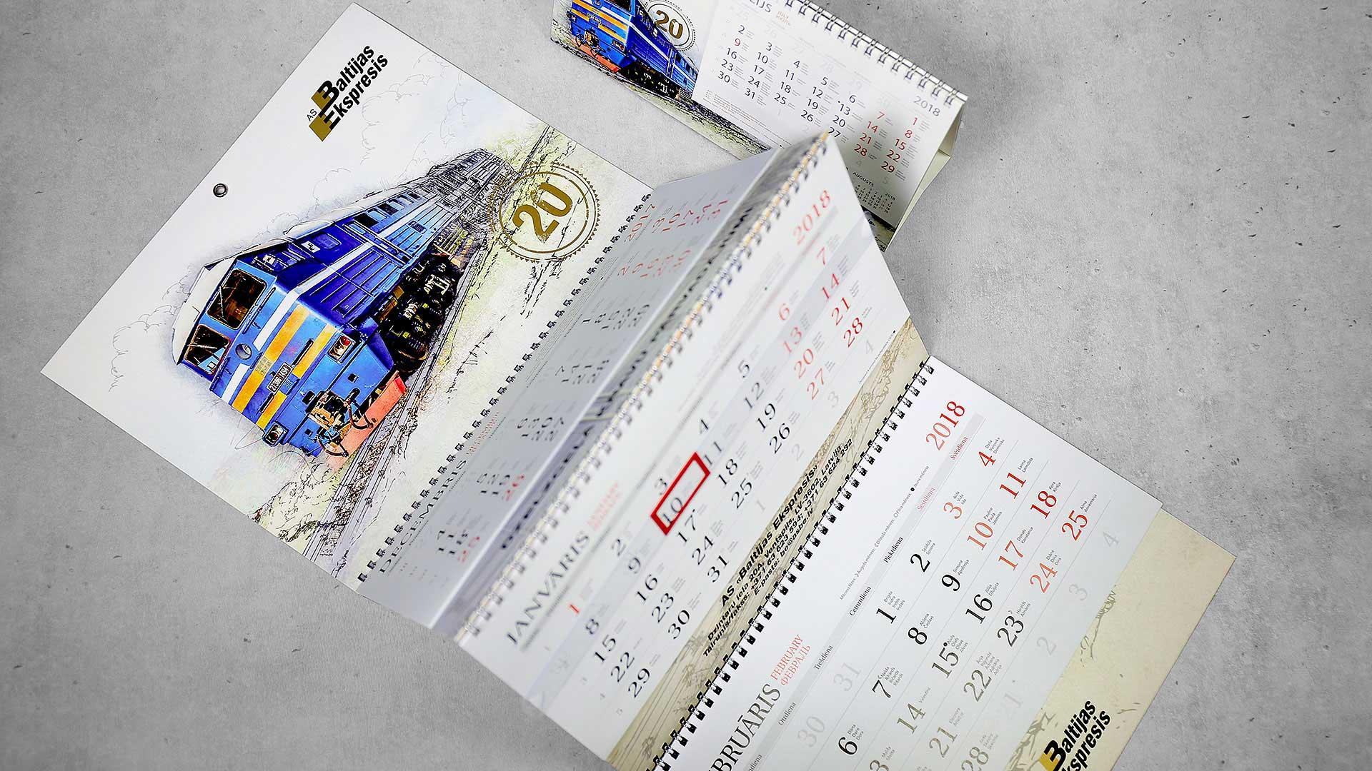 Sienas kalendāru izgatavošana Baltijas Ekspresis