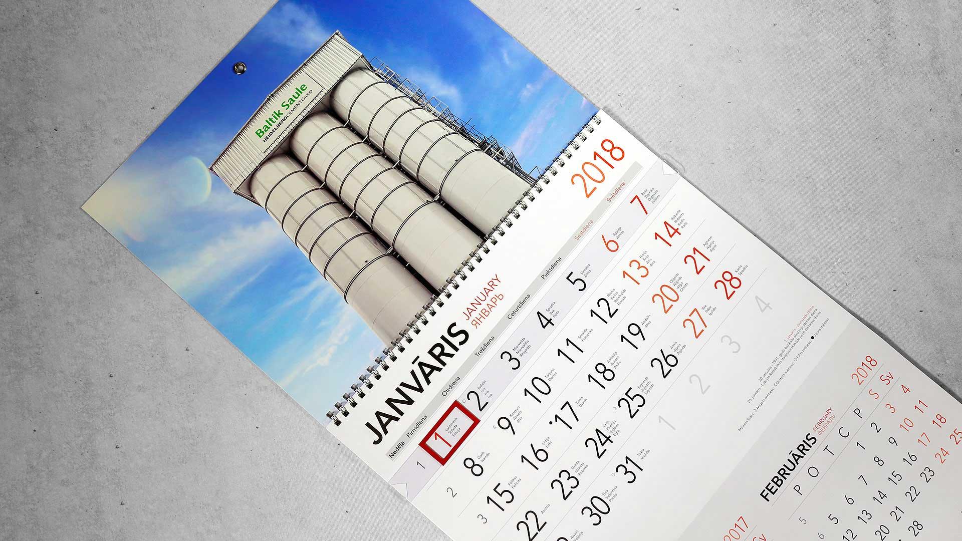 Sienas kalendāru izgatavošana Baltik Saule