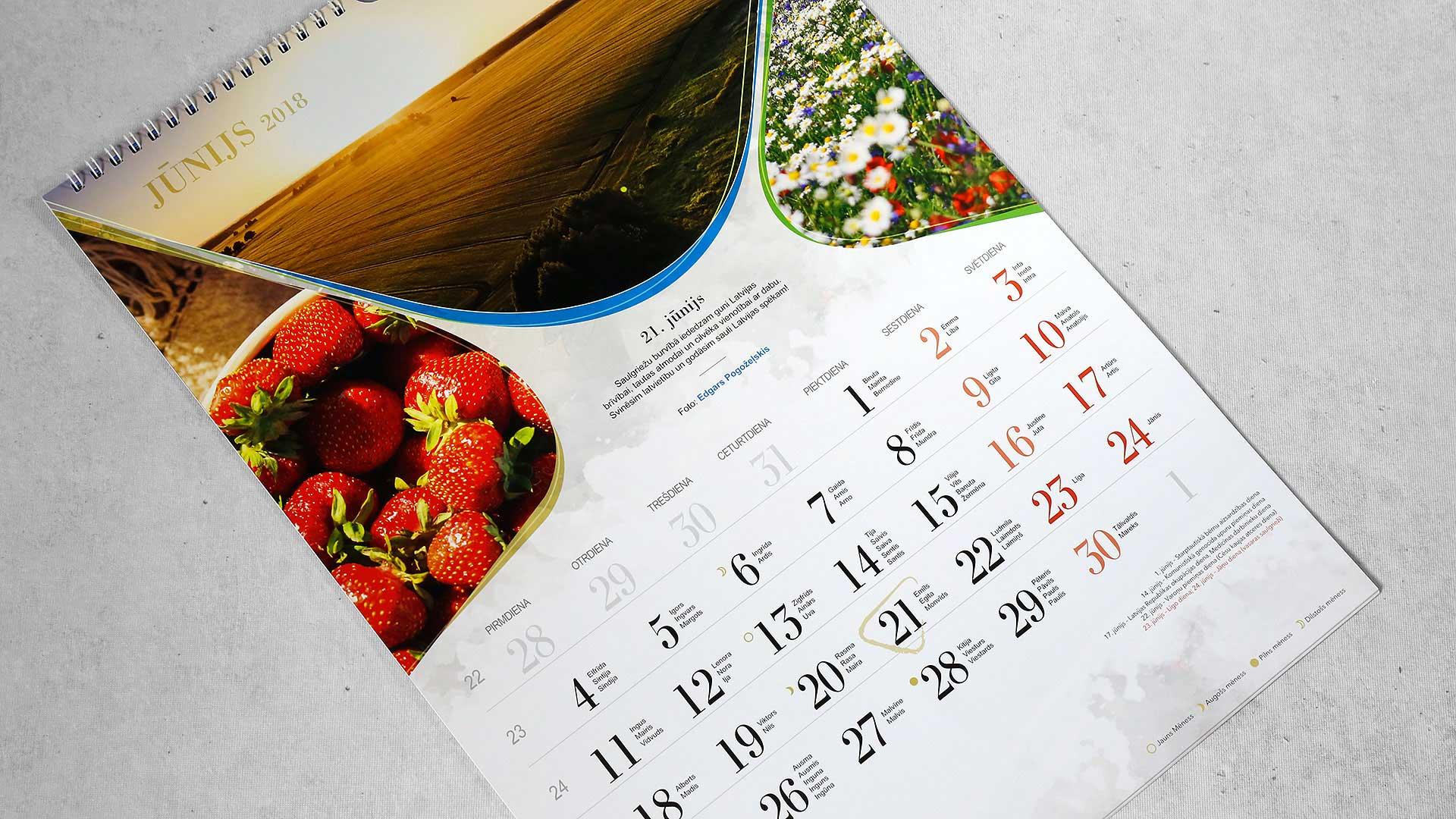 Sienas kalendāru izgatavošana Jelgavas novads