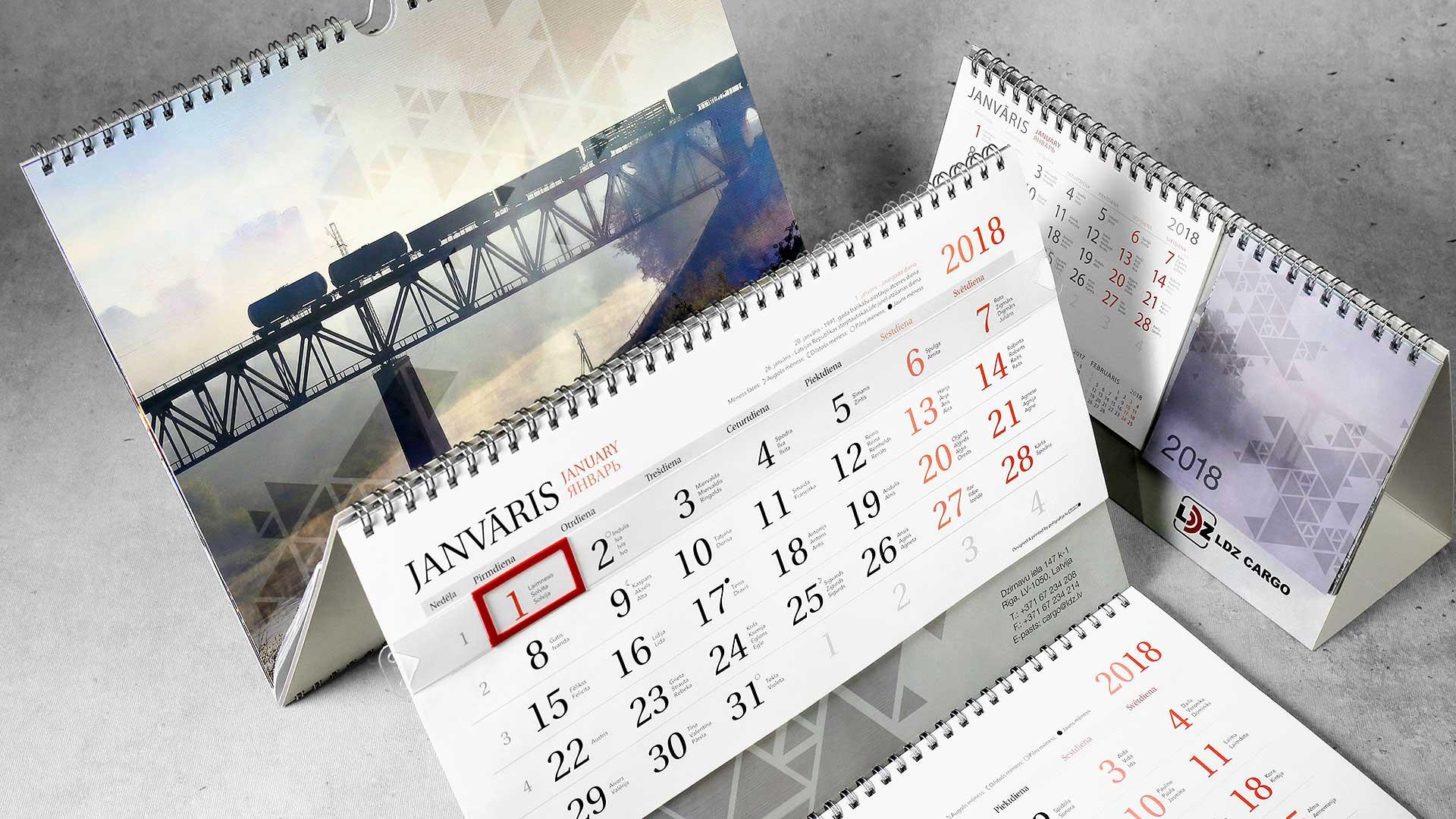 Sienas kalendāru izgatavošana LDZ Cargo