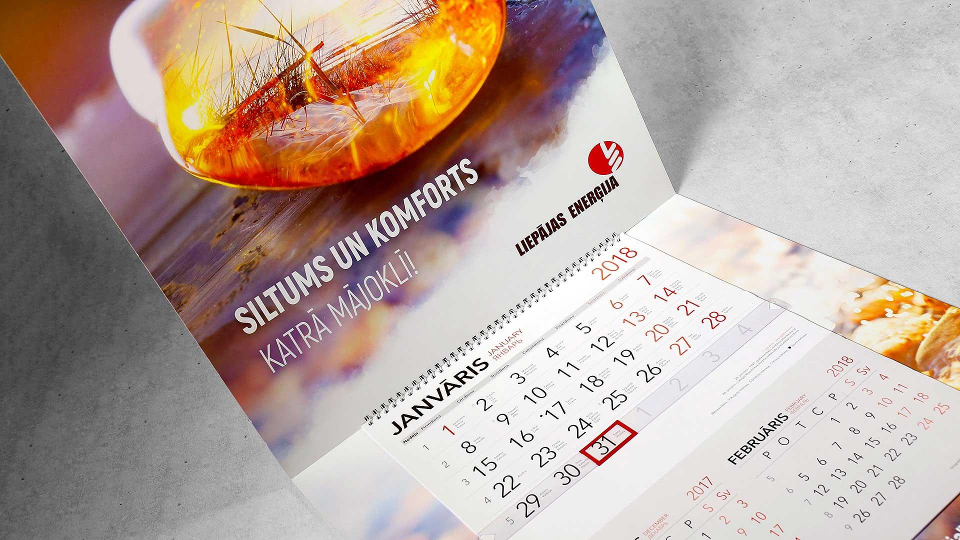 Sienas kalendāru izgatavošana Liepājas enerģija