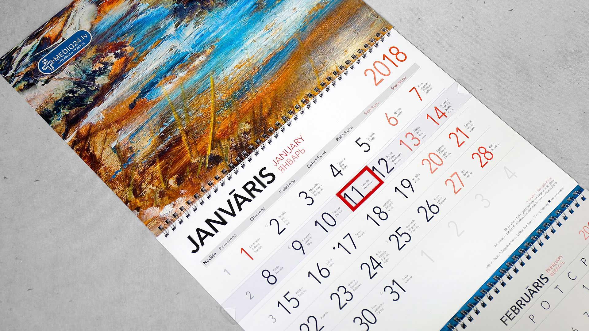 Sienas kalendāru izgatavošana Mediq