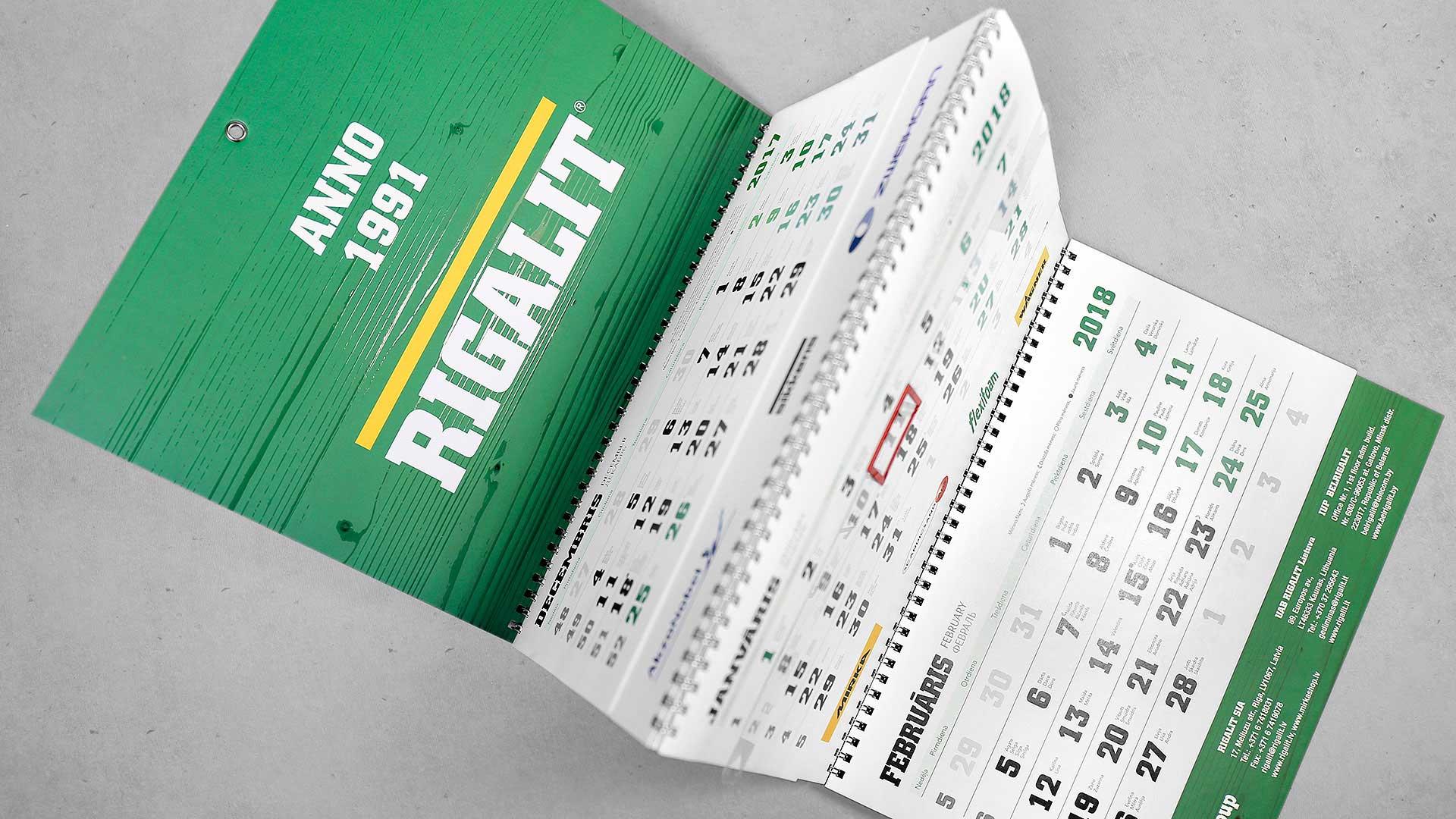 Sienas kalendāru izgatavošana Rigalit