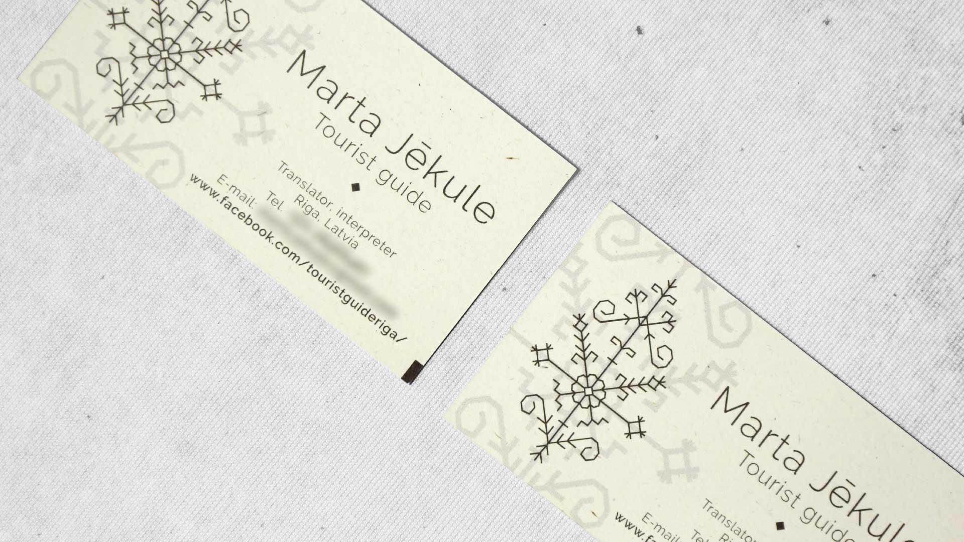 Vizītkaršu druka, dizains Marta