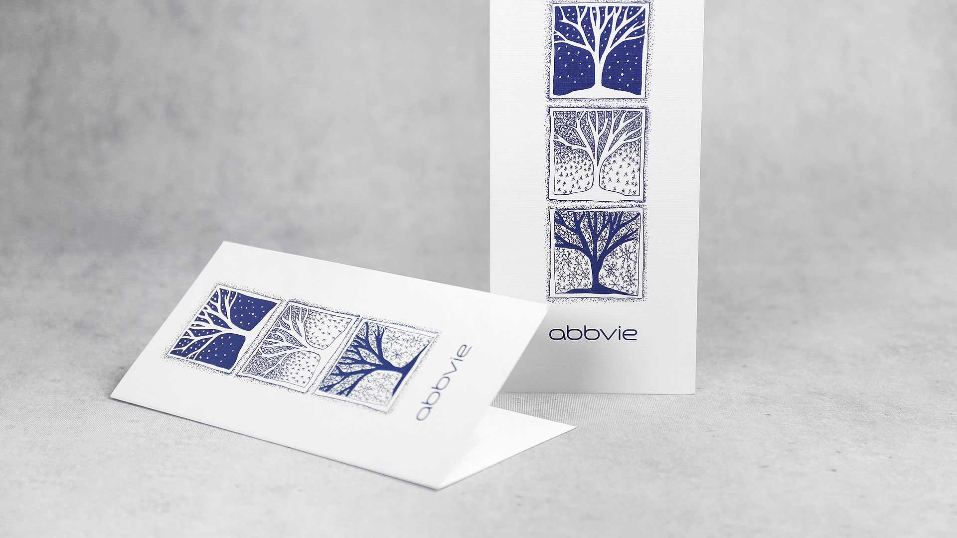 ZIemassvētku kartiņu druka, izgatavošana Abbvie